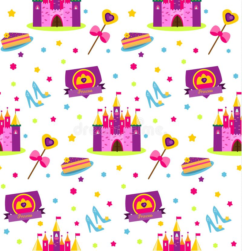 Princess Party Pattern. Vector Background With Girls Design Elements ...