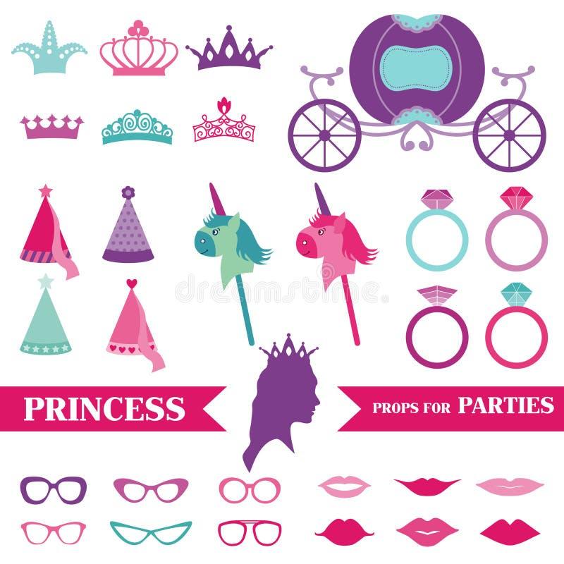 Princess Party set vector illustration