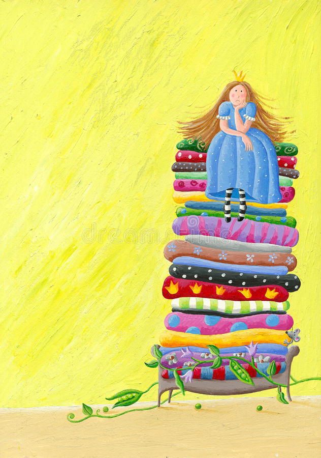 The Princess and the Pea. Acrylic illustration of the Princess and the Pea vector illustration