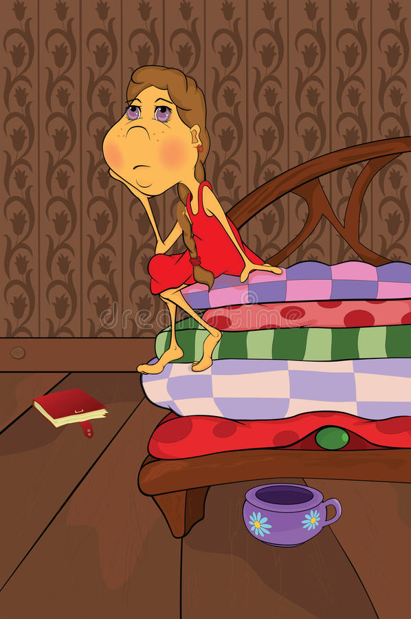 The Princess And The Pea. Cartoon Royalty Free Stock Photography