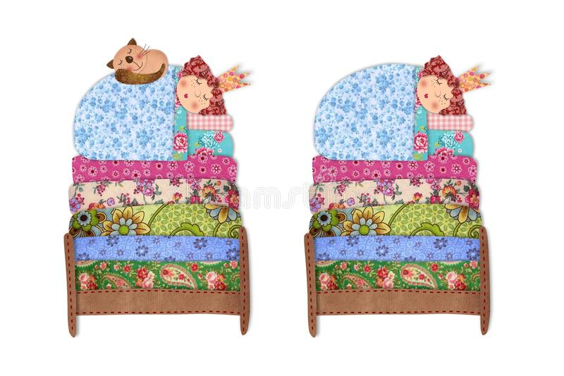 The Princess and the Pea. Colorful fabric and paper quiltting vector illustration