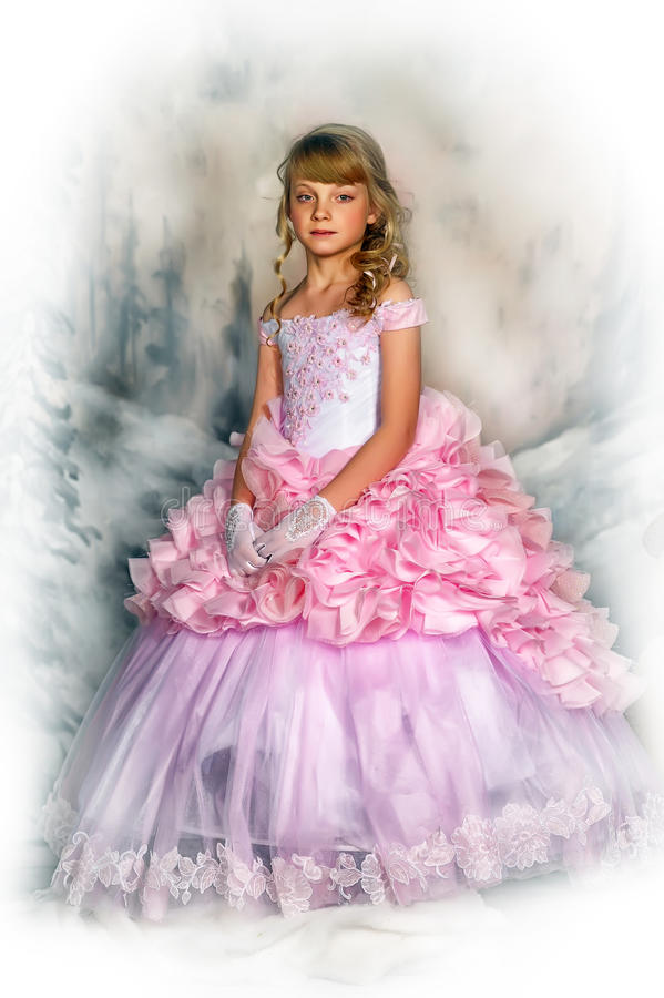 Princess in a pink dress royalty free stock images