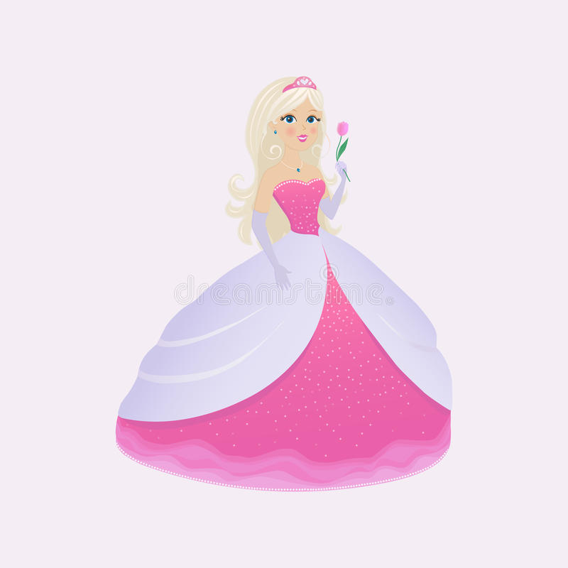 Princess in a pink dress. With a tulip in his hand stock illustration
