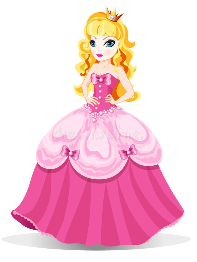 Princess in pink dress. The vector illustration of princess in pink dress with blue eyes and crown at blond hair. For little girls vector illustration