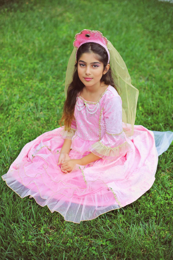 Princess in pink. A girl sitting in costume of princess with crown royalty free stock image