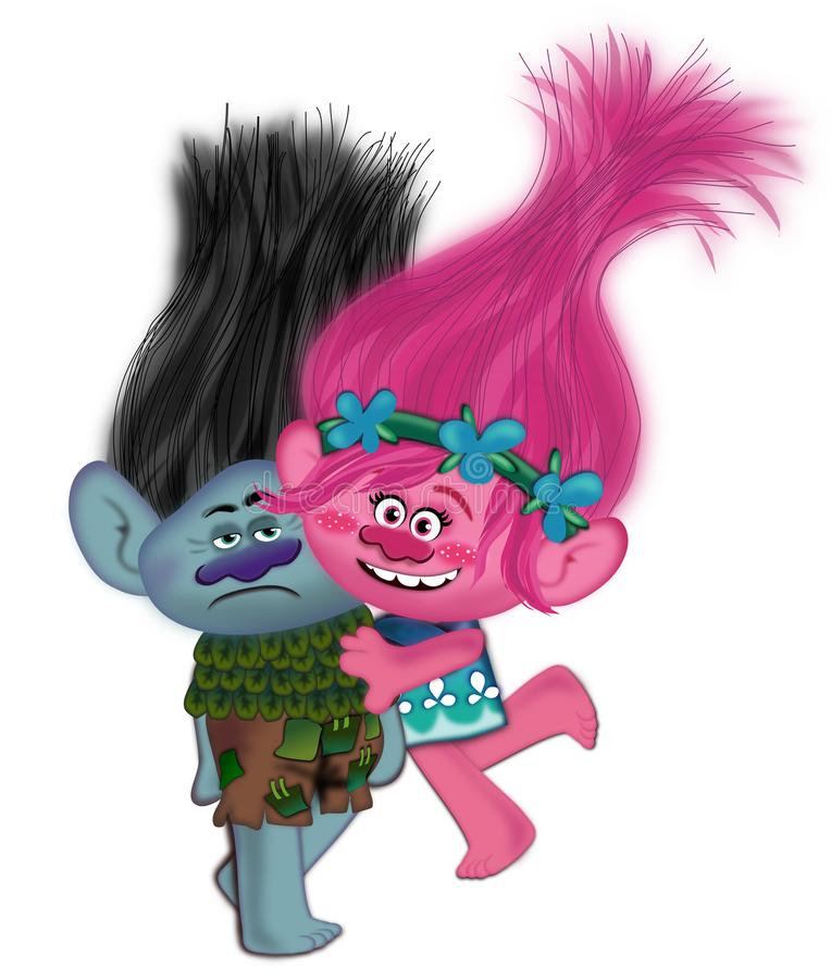 Trolls. Princess Poppy and Branch the disney character of Trolls movie