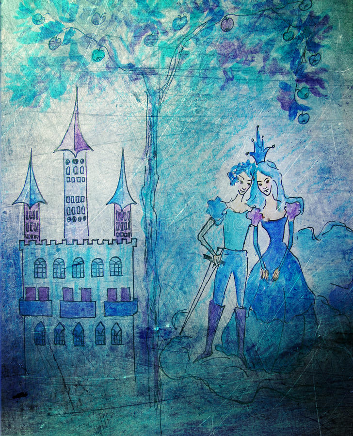 Download Princess And Prince With Castle Stock Image - Image: 15370231