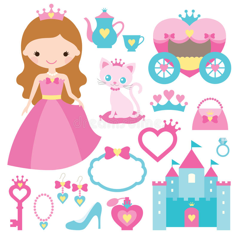 Princess projekt elementy ilustracja wektor