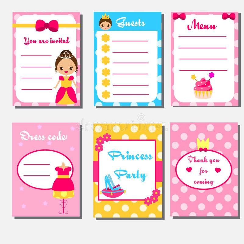 Princess przyjęcie żartuje kolekcję Dziecko dziewczyn przyjęcia projekta ustalony szablon Menu, gość lista, zaproszenie royalty ilustracja