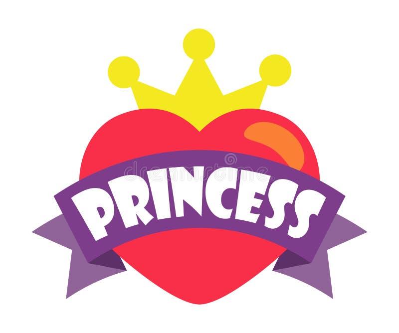 Princess przyjęcie serce i korona wektoru ilustracja ilustracja wektor