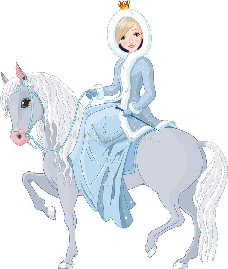 Princess riding horse. Winter vector illustration