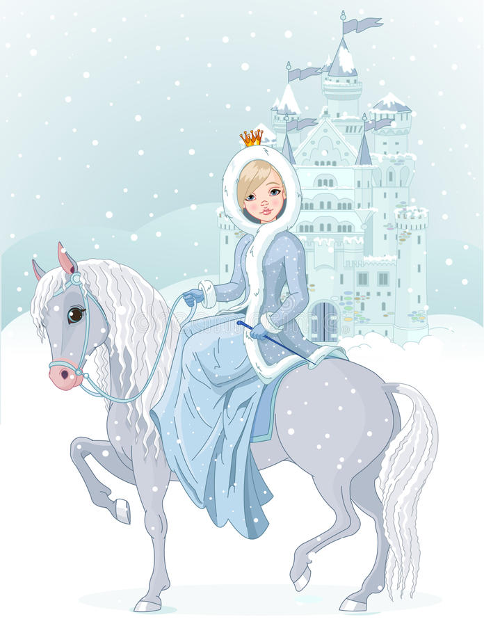 Princess riding horse at winter royalty free stock photography