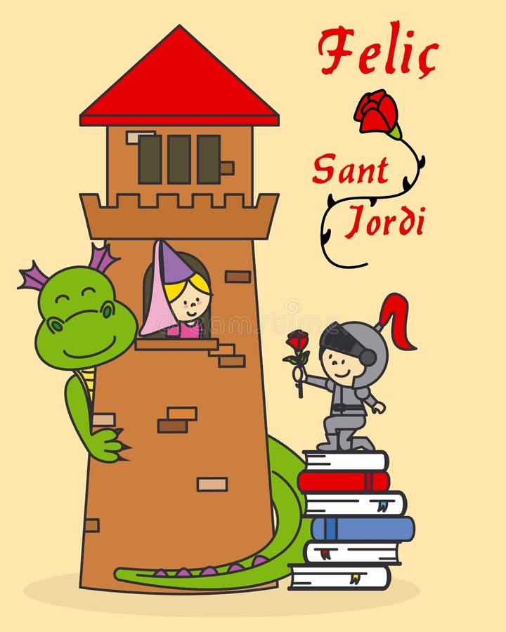 Princess, rycerz i smok, royalty ilustracja