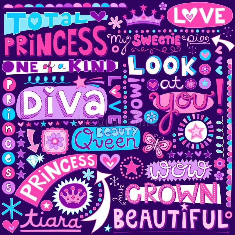 Princess słowo Doodles piękna Pagent wektor Illustr ilustracja wektor