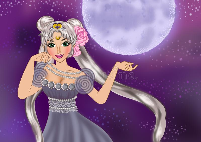 Princess Serenity. The princess of the moonlight in purple violet background vector illustration