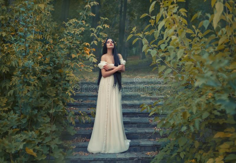 A princess with sexually bare shoulders enjoys a moment of silence and loneliness. Black long hair, golden wreath, cream. Silk vintage dress. runaway Bride stock images