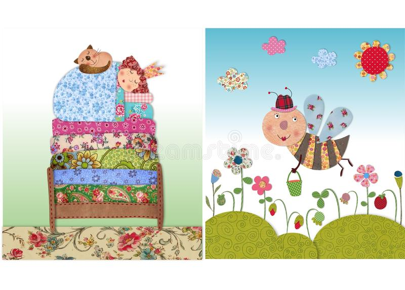 Princess sleeping, and bee. Colorful graphic illustration. Quilt design stock illustration
