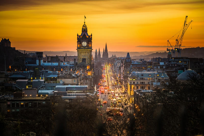 Download Princess Street And Balmoral Tower, Sunset Time Stock Image - Image of castle, attraction: 60163601