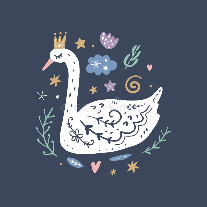 Princess swan nursery wall art, animal prints, baby room pictures, commercial and personal use clip art, vector graphics. Princess swan nursery scandi wall art stock illustration