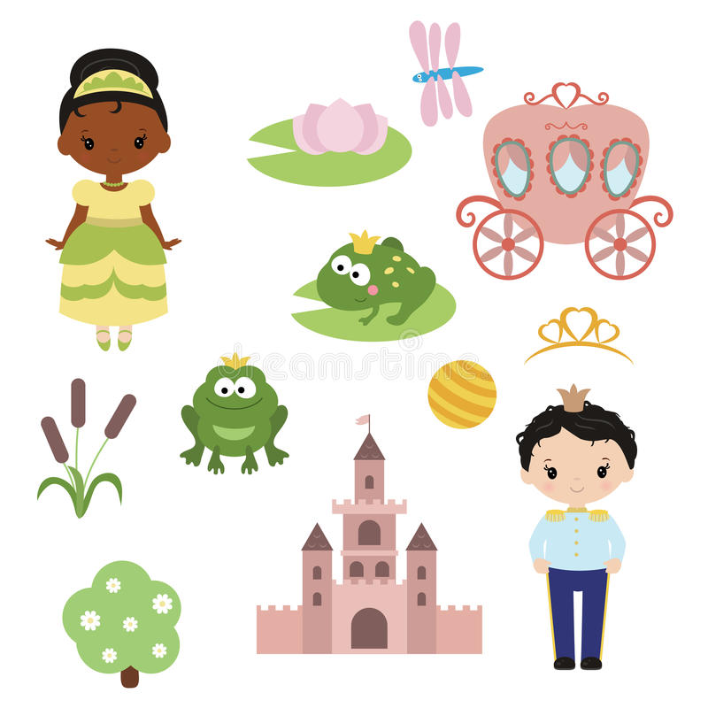 Free Princess Theme With Castle, Frog Prince, Carriage Royalty Free Stock Photography - 95627717