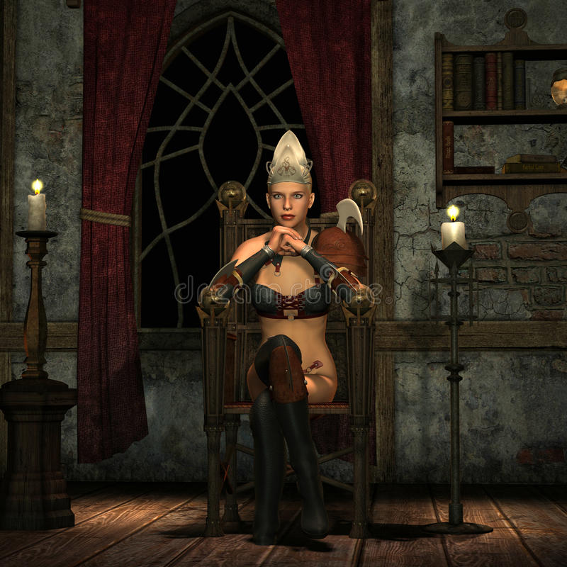 Download Princess on a throne stock illustration. Illustration of thoughtful - 16949959