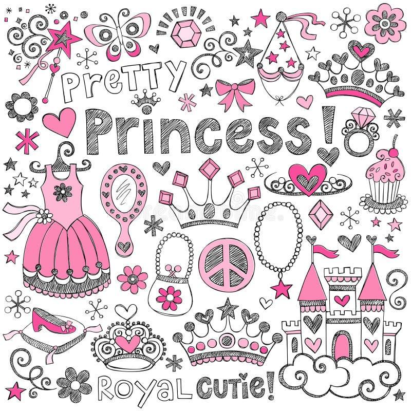 Princess tiara królewskości Doodles wektoru Szkicowy set ilustracja wektor