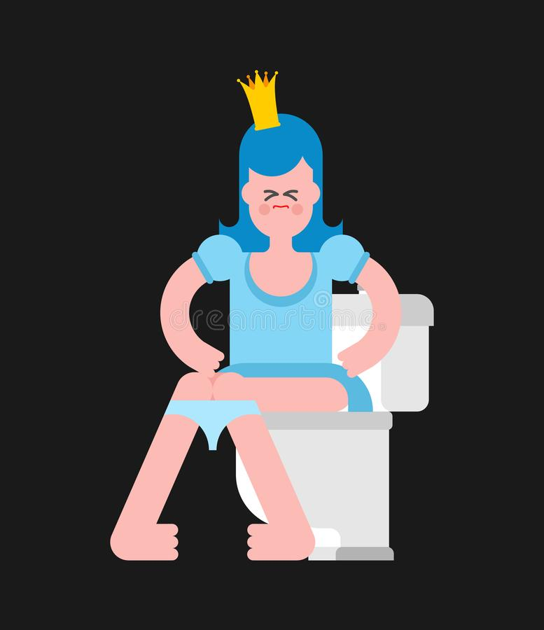Download Princess On Toilet Woman Is In WC Sweet Girl With Crown Vecto