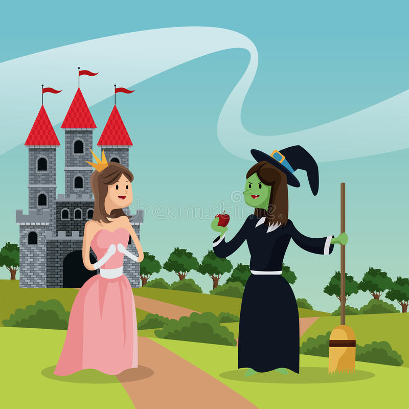 Princess with ugly witch giving apple castle and landscape vector illustration