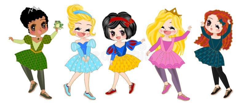 Princess w akci kreskówce odizolowywającej ilustracji