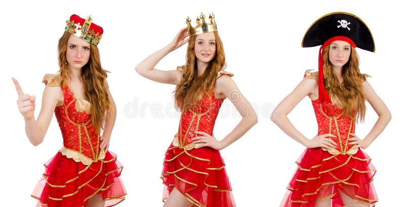 The princess wearing crown and red dress isolated on white. Princess wearing crown and red dress isolated on white royalty free stock photo