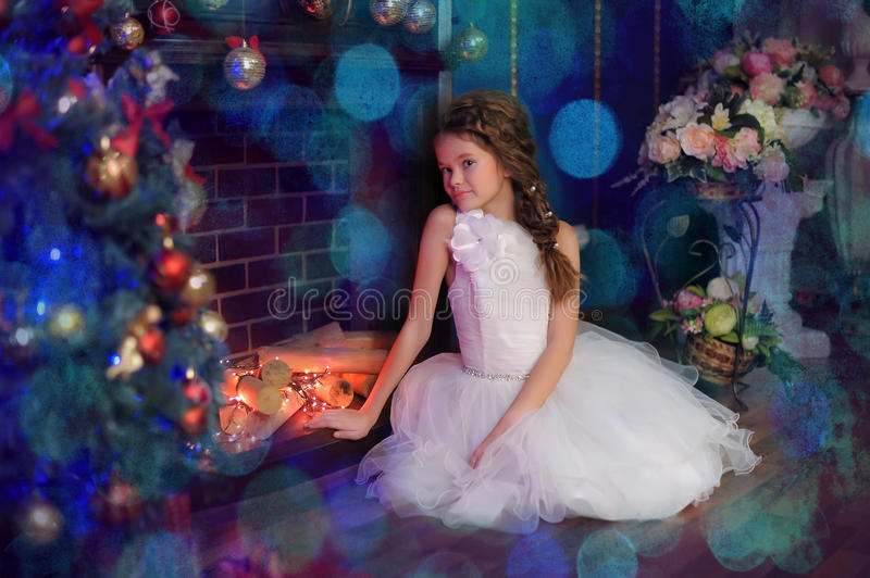 Princess in a white dress royalty free stock image