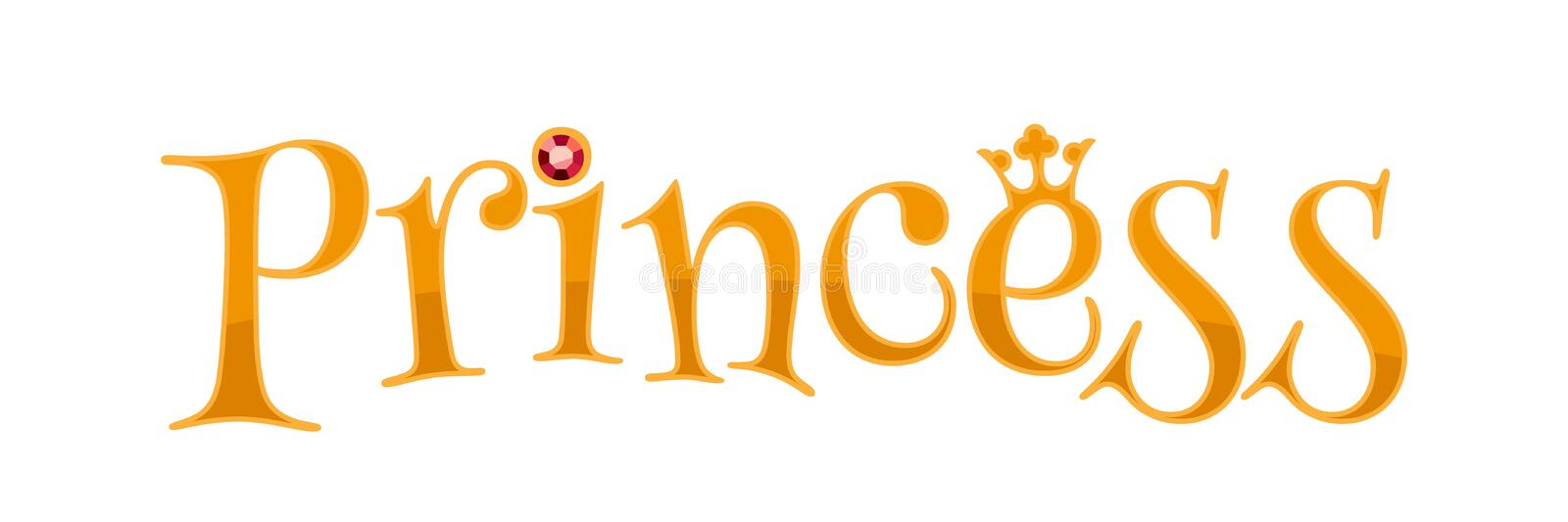 Princess word - golden letters. Princess word - golden letters with crown and ruby gemstone stock illustration