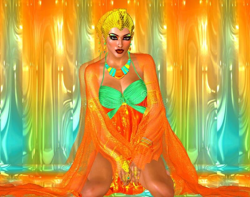 Princesse égyptienne en soies oranges et vert vert avec des beaux cosmétiques de mode illustration libre de droits