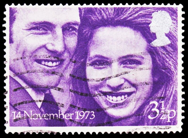 Princesse Anne et capitaine Mark Philips, serie royal de mariages, vers 1973 photographie stock