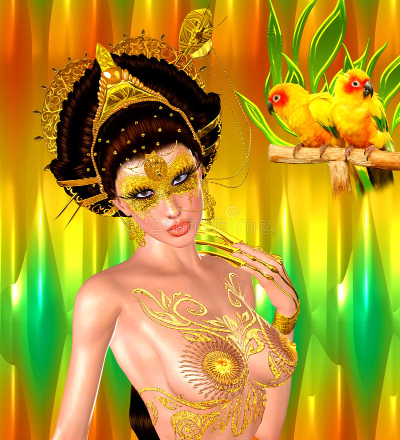 Princesse asiatique avec la couronne d'or sur un or et un fond vert Beauté, mode et cosmétiques numériques modernes d'art illustration libre de droits