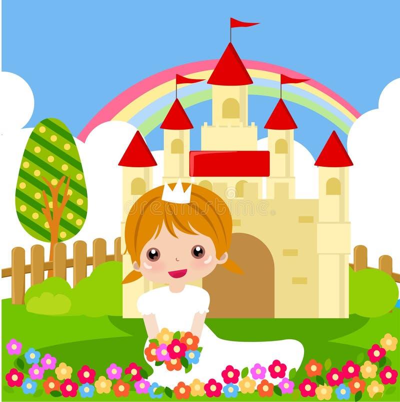 Princesse avec des fleurs illustration de vecteur