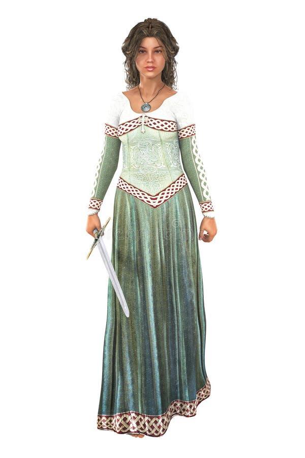 Princesse avec une épée d'isolement illustration stock