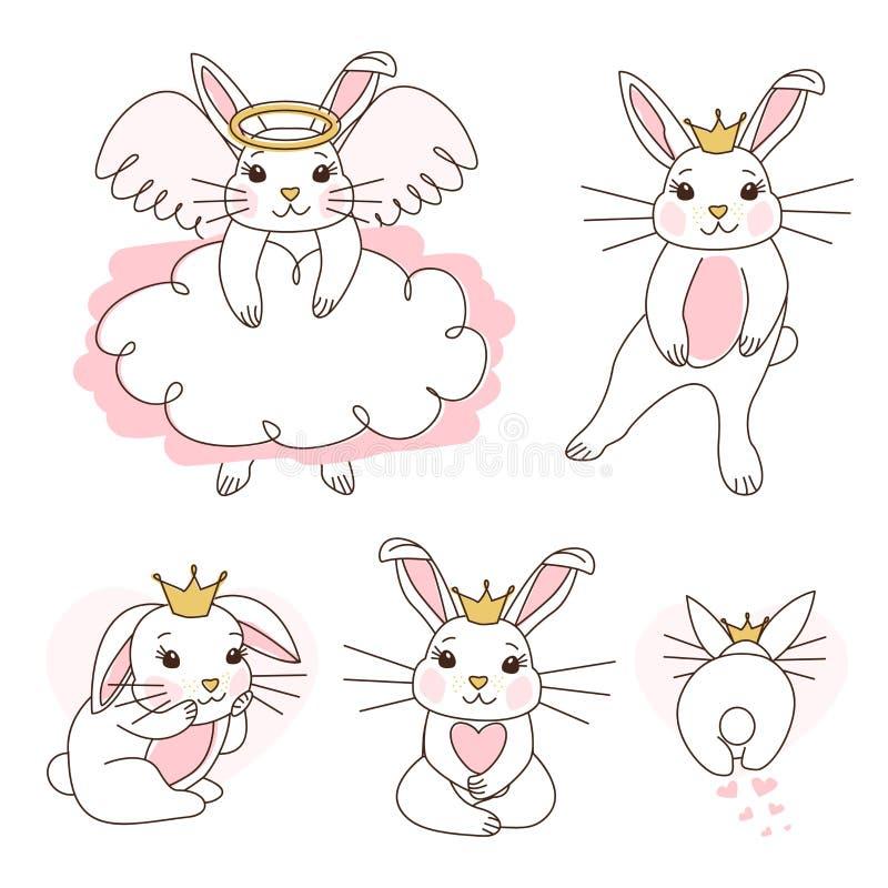 Princesse blanche mignonne de lapin avec la couronne d'or, ventre rose La danse de petite fille, se reposent, des premières étape illustration stock