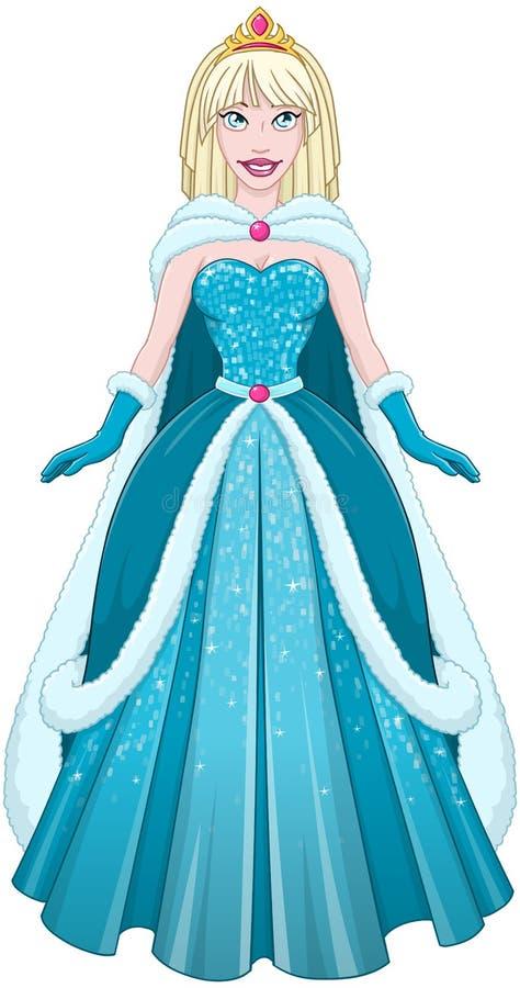 Princesse In Blue Dress et manteau de neige illustration de vecteur