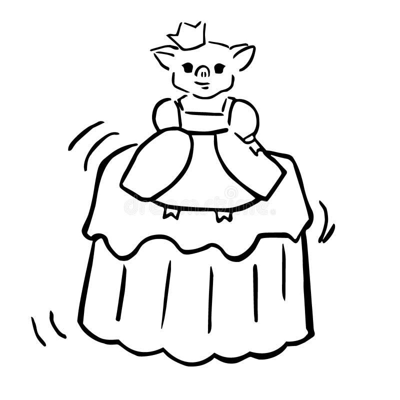 Princesse costumée porcine et gelée de vecteur doux illustration de vecteur