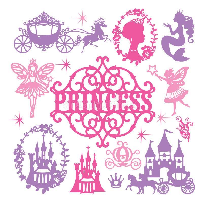 Princesse coupée de papier Theme Set de cru illustration de vecteur