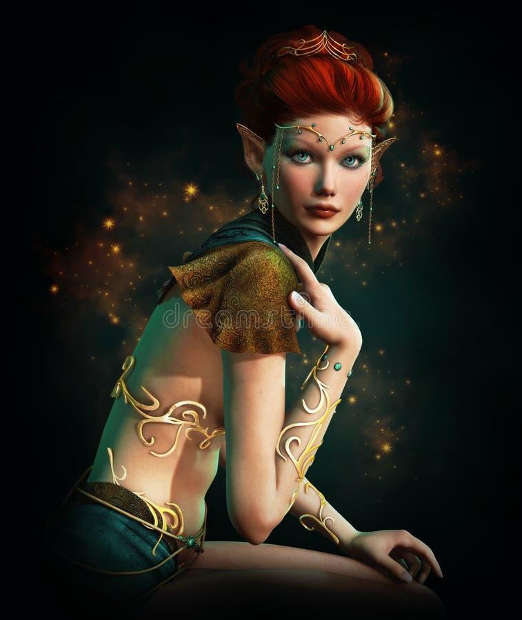 Princesse d'Elven avec des bijoux de turquoise illustration stock