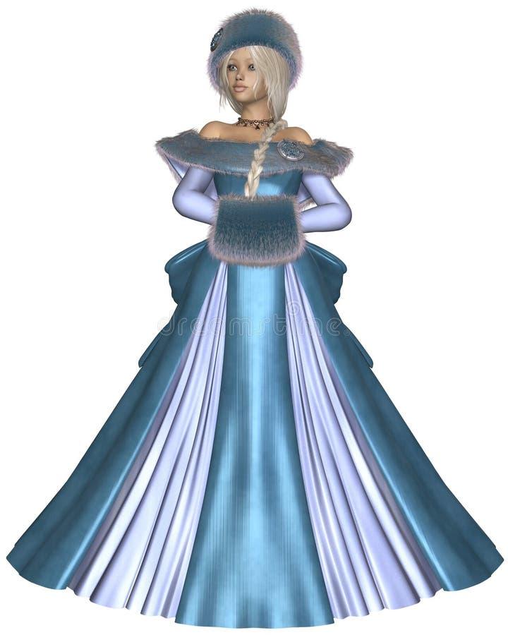 Princesse d'hiver dans le bleu illustration de vecteur