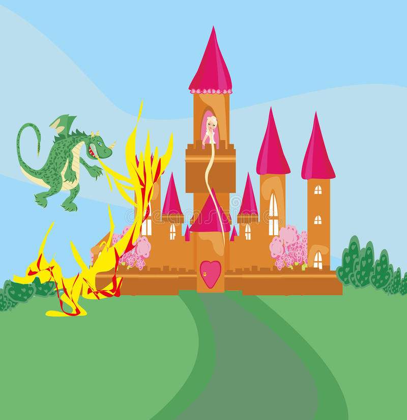 Princesse dans la tour brûlante illustration stock