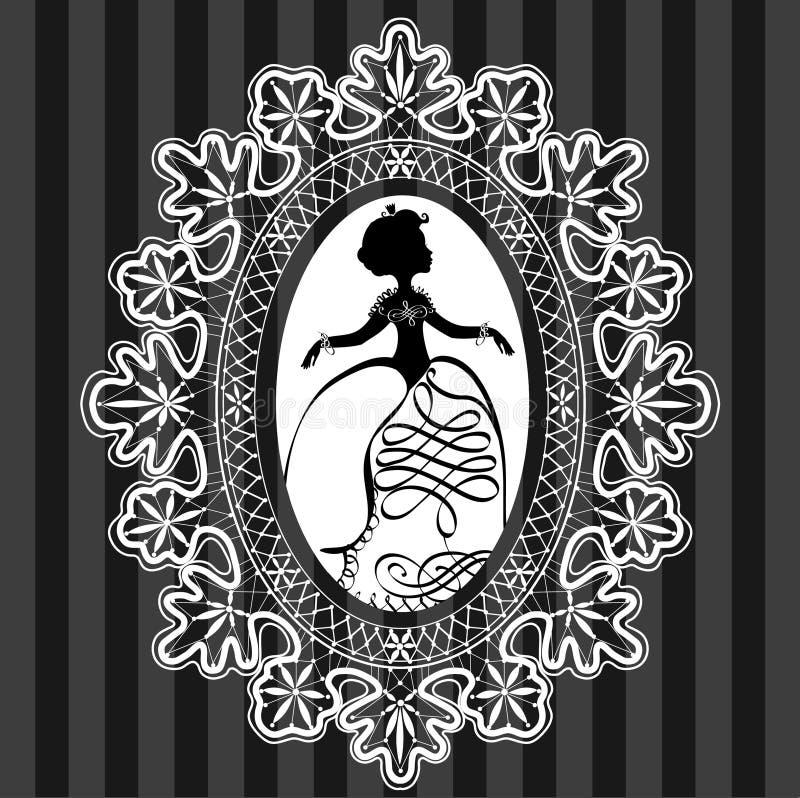 Princesse dans le cadre d'ovale de dentelle illustration stock