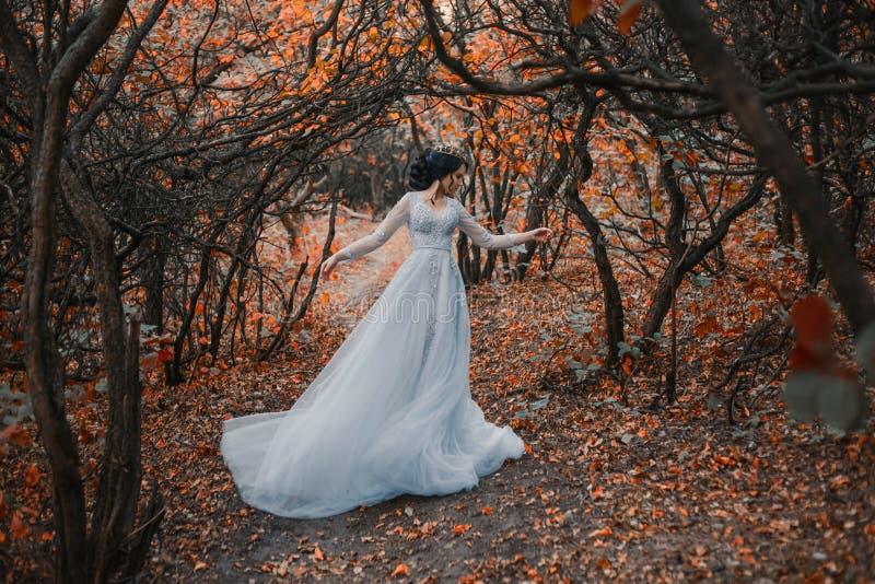 Princesse dans un jardin sinistre d'automne images libres de droits