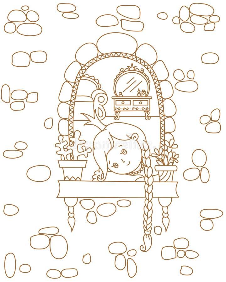 Princesse dans une fenêtre illustration libre de droits