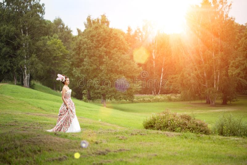 Princesse dans une robe de cru en nature photographie stock libre de droits