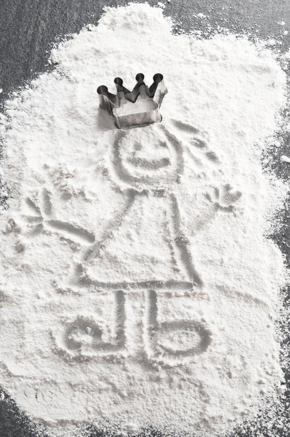 Princesse en farine avec la tête de paraboloïde de traitement au four image stock