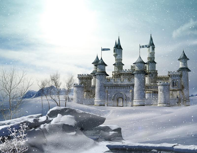 Princesse enchantée Castle de conte de fées d'hiver illustration stock